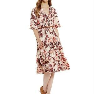 Cremieux Pink Floral Boho Amber Peasant midi Dress